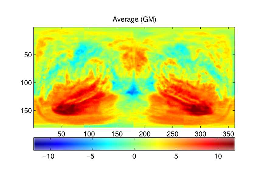 t-map for the Average scalar and Gray Matter